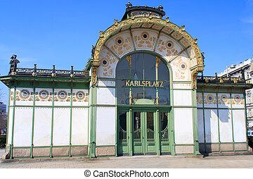 Old Otto Wagner Metro Station at Karlsplatz, Vienna, Austria