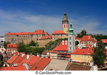 View on the Schwarzenberg castle in Cesky Krumlov Krumau