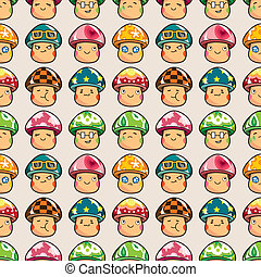 seamless mushroom pattern,cartoon vector illustration