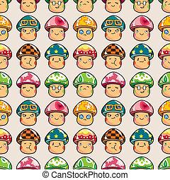 seamless mushroom pattern,cartoon vector illustration