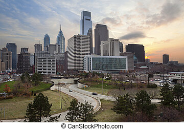 Philadelphia. - Image of the Philadelphia skyline at sunset.