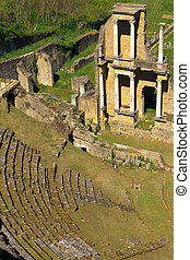 Remains of Roman Amphitheatre in Volterra, Tuscany, Italy