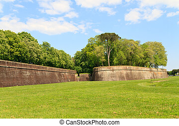 Lucca city wall fortifications in spring, Tuscany, Italy