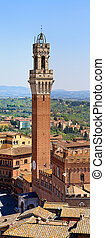 Panorama (HighRes) of Siena Bell Tower, Palazzo Pubblico (Palazzo Comunale), Italy