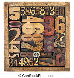 number abstract in wood type - number abstract - vintage...