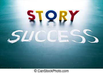 Story of success concept, words on blackboard