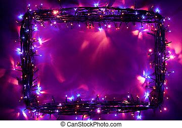 luces, marco, navidad, fondo