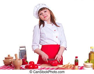 Attractive cook woman a over white background - female chef...
