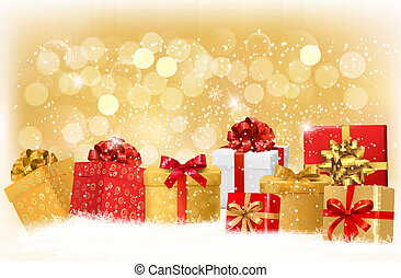 Christmas background with gift boxes and snowflakes. Vector...