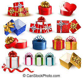 Set of colorful gift boxes with bows and ribbons. Vector...