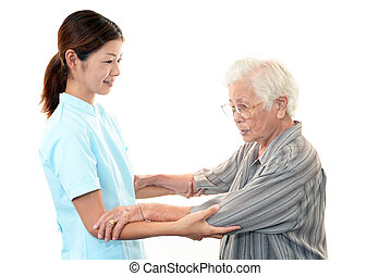 Woman Elderly Smile - Old wonan and the medical staff of...