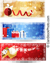 Three christmas banners with gift boxes and snowflakes...
