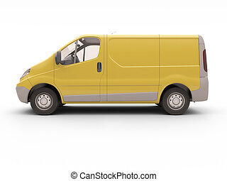 Commercial van isolated - Yellow commercial van isolated on...