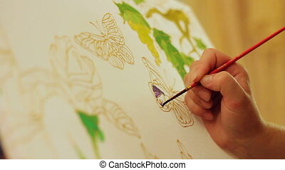 Drawing a butterfly. Time lapse - Person coloring a...