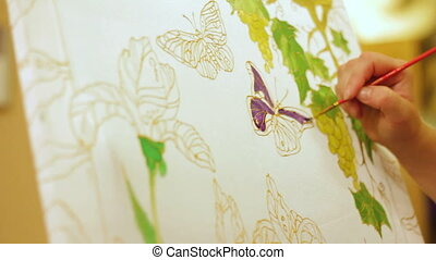 Drawing a butterfly in a beautiful garden. Time lapse