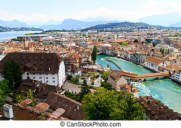 Luzern City View from city walls with river Reuss,...