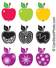 Apples - abstract color apples on white background isolated
