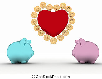 two piggy-bank with heart - two piggy-bank with heart