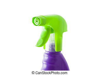 Sprayer - a green plastic sprayer isolated on the white...