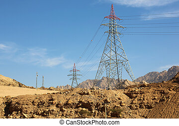Overhead power lines Jordan - overhead power lines in the...