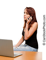 Woman listening to her mobile phone