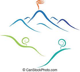 mountain nature sketch - abstract sketch of mountain vector...