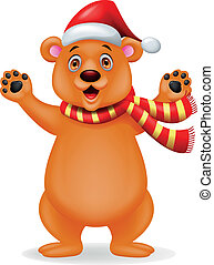 Brown bear cartoon with scarf and red hat