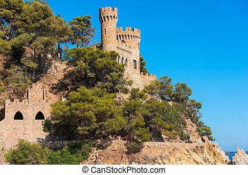 Castle Sant Joan in Costa Brava, Lloret De Mar, Catalonia,...