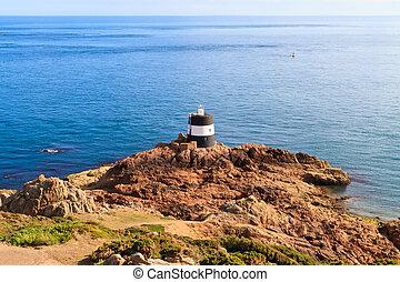 Noirmont Point Lighthouse, St. Aubin`s Bay, Jersey, The...