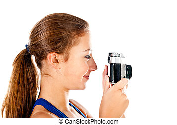teenager with old camera isolated on a white background
