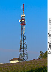 Communication Tower on rural field