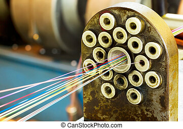 Fragment strands of optical fiber connections on the old...