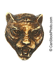 Bone carving of a wolf head, isolated for creative montage