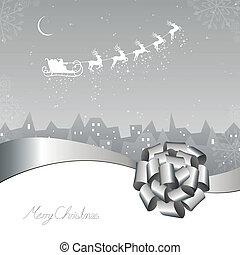 Santa Claus coming to City - Vector Illustration of Santa...