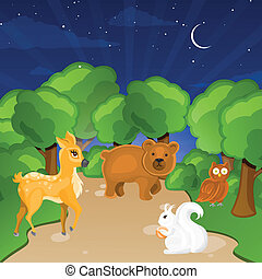 Forest Animals - Vector Illustration of Forest Animals on a...