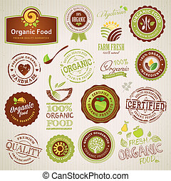 Organic food labels and elements - Set of organic food...