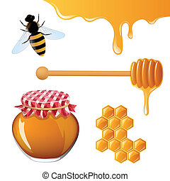 Honey Elements - Vector Illustration of isolated Honey...