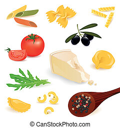 Vector Pasta Elements - Vector Illustration of Pasta...