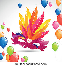 Carnival Mask and Balloons - Vector Illustration of a...