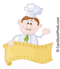 Cook with poster - Cartoon cook - chef with blank banner for...