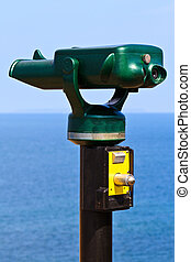 Tourist Attraction Binoculars pointing towards the Ocean