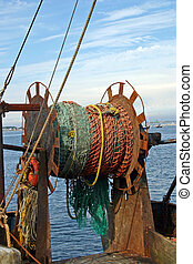 Fishing Net - A fishing net on a boat in the harbor of...