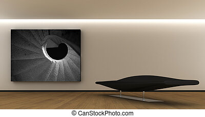 Minimal interior - minimal interior whit sofa and canvas