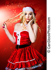 beautiful sexy girl wearing santa claus clothes - beautiful...