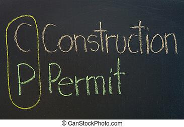 CP acronym Construction Permit,construction concept ,color...