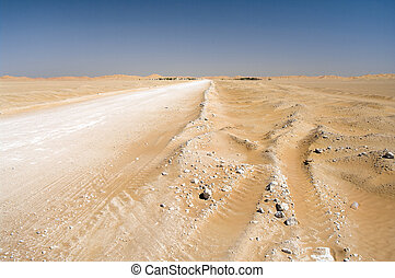 Village in the desert, Oman - Road and Village Al-Hashman in...