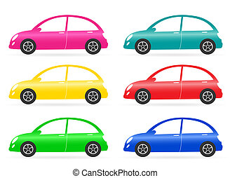 set of colorful isolated retro car on white background