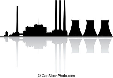 Power Plant Silhouette - Silhouette of a power plant Vector...