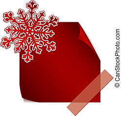 Red paper snowflake over red sticker
