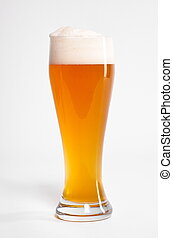 German beer isolated - bavarian wheat beer isolated on white...